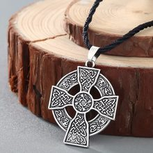 CHENGXUN Armenian Cross Pendant Necklace Solar Cross Celtics Druid Amulet Pendant Necklace for Boys Men Rope Chain Collier(China)