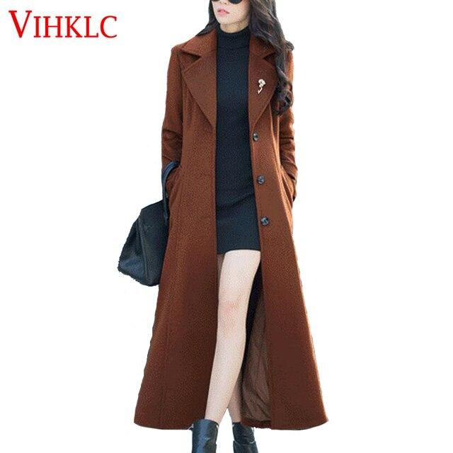 8f6afdf86 Casaco de Lã das mulheres Novas 2017 Mulheres Plus Size outono Europeu  jaqueta de inverno clássico