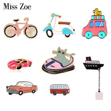Bargain price Transportation Collection Enamel pin Cartoon bike car bus boat motorcycle Brooch lapel pin Button badge Funny Gift(China)