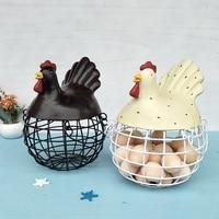 New American Iron Egg Storage Basket Snack Fruit Basket Creative Collection Ceramic Hen Oraments Decoration Kitchen Accessories|Storage Baskets| |  -