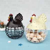 New American Iron Egg Storage Basket Snack Fruit Basket Creative Collection Ceramic Hen Oraments Decoration Kitchen Accessories