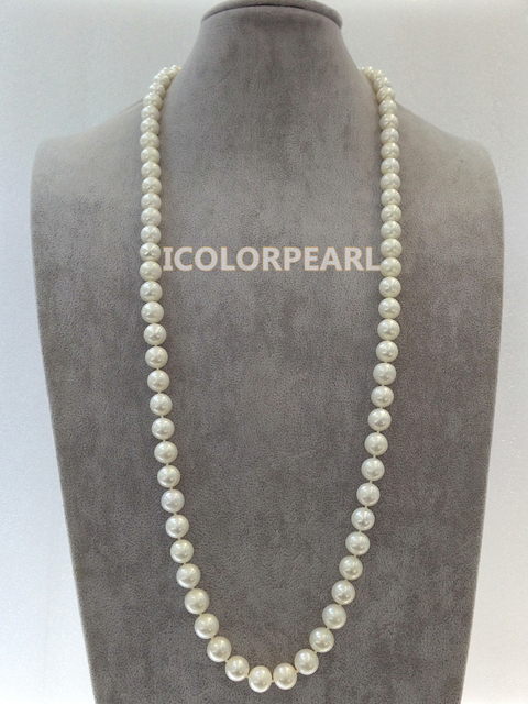 Big Shape 90cm 10-12mm Round White Real Natural Freshwater Pearl Jewelry Sweater Necklace,. Best Jewelry Gift For Mothers!
