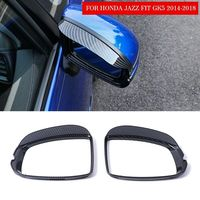 New ABS Carbon Fiber Rearview Mirror Rain Cover Trim For Honda Jazz Fit GK5 2014 2015 2016 2017 2018 19 Protector Exterior Parts