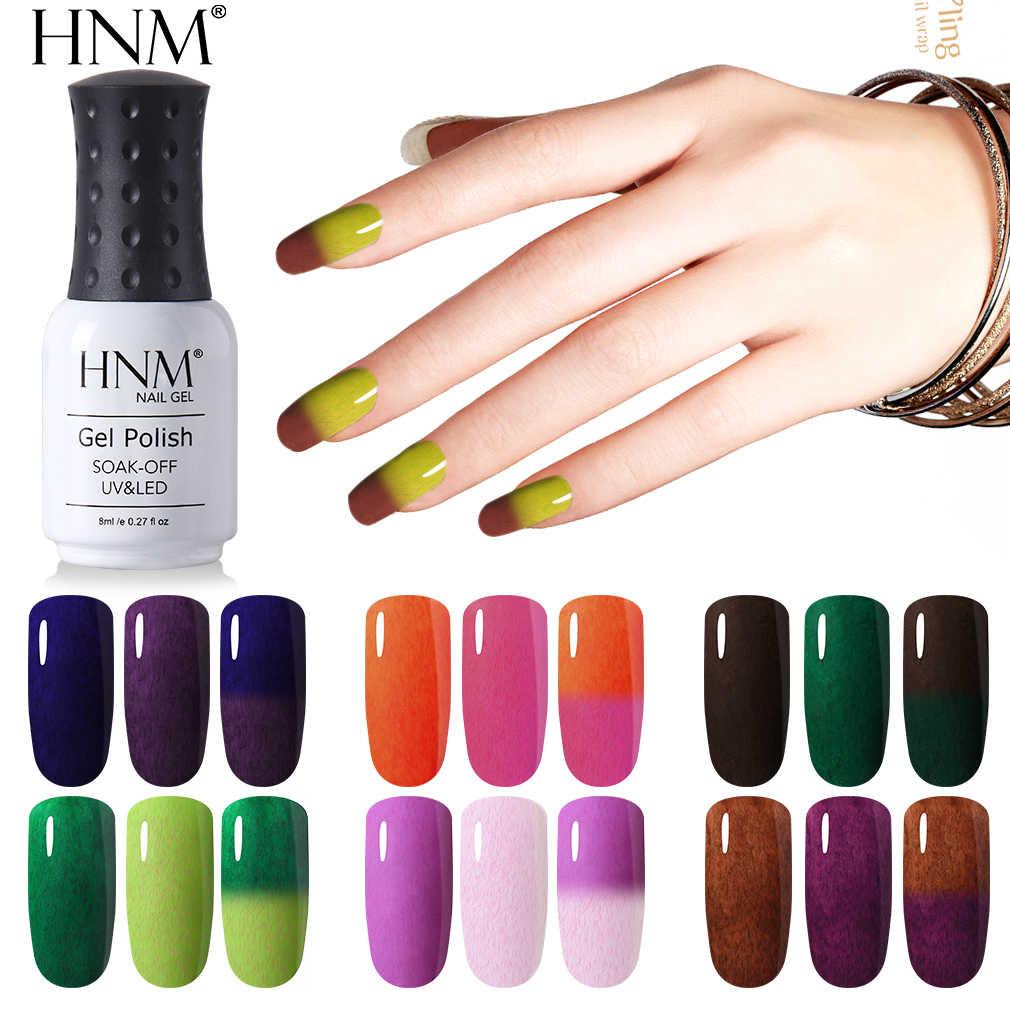 HNM פקס חדש פרווה מזל קבוע למחצה שינוי צבע 8 ML לק לכה אמייל מנורת LED תרמית ציור Gellak פריימר