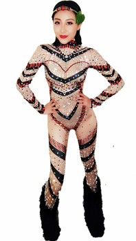 Shiny Crystals  Women Skinny Jumpsuit Female Singer Dancer Costume One-piece Bodysuit Nightclub Oufit Party Leggings Baalmar DJ