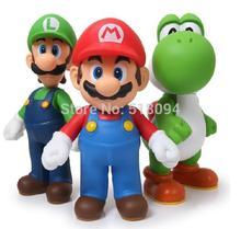 Livraison Gratuite Super Mario Bros Mario Yoshi Luigi PVC Action Figure Collection Modèle Jouets Poupées 3 pcs/ensemble SMFG225