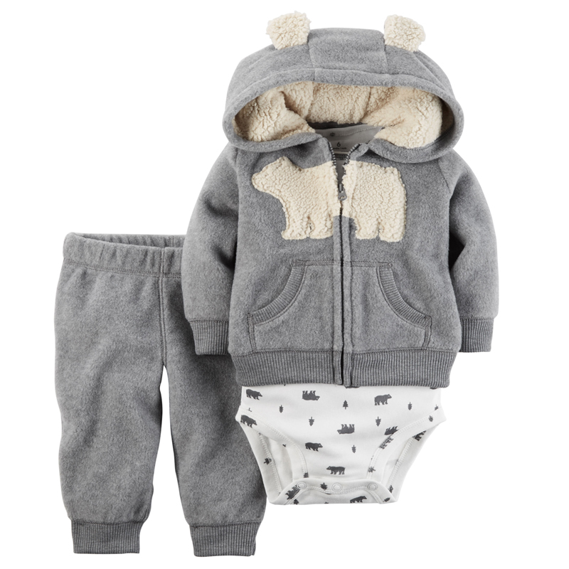 2018 baby boy clothes bear Long sleeve hooded +romper+pant 3 piece set cotton infant newbron boy outfit clothes for 0-24m gray