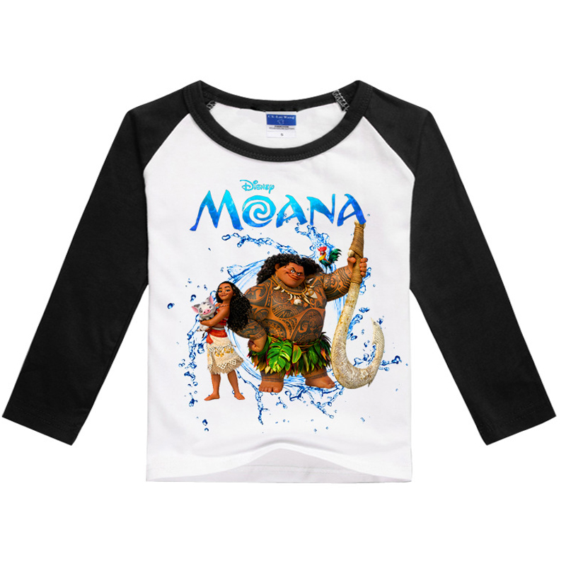 2 7years Children Clothing Moana Princess Kids Long sleeves T shirt Cotton Cartoon Print Boys Clothes