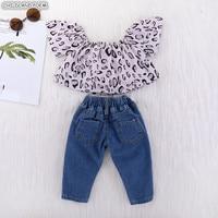 Toddler Baby Girl Clothes Set Kids Baby Girls Clothing Set Leopard Off Shoulder Tops Shirt + Denim Pants 2 Pcs Baby Girl Outfit