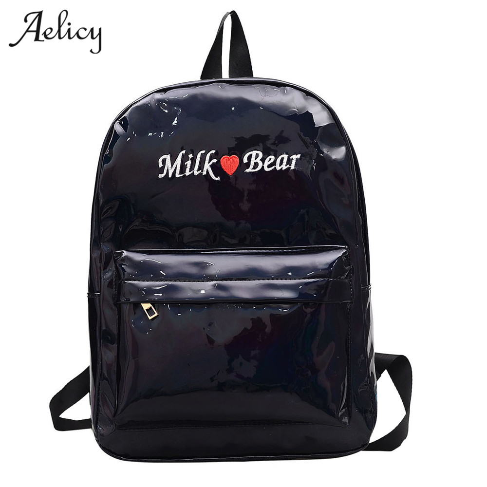 Aelicy Laser Backpack women girls Bag leather Holographic Backpack school bags for teenage girls mochilaAelicy Laser Backpack women girls Bag leather Holographic Backpack school bags for teenage girls mochila
