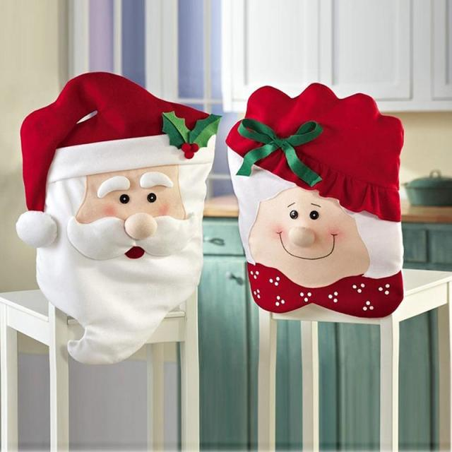 1Pcs Fashion Lovely Mr Mrs Santa Christmas Chair Covers Home Party Decor Creative Snowman