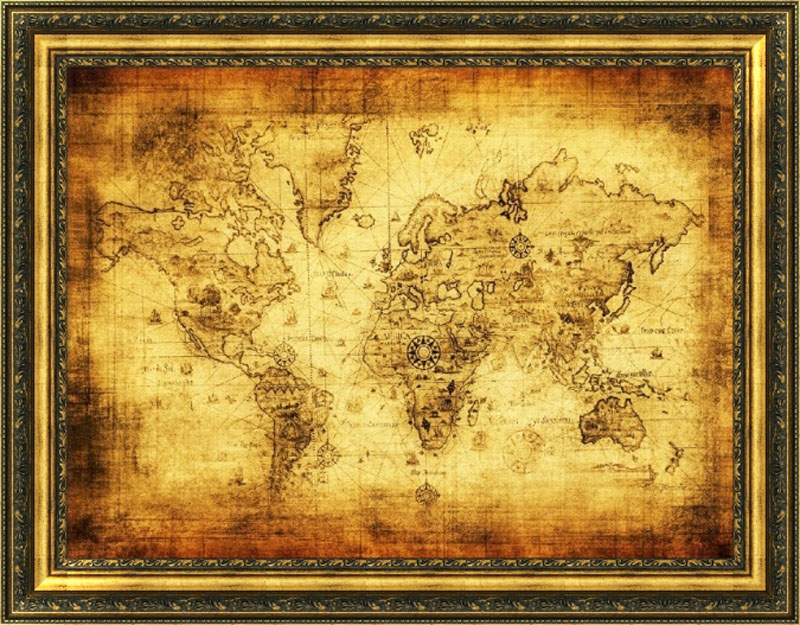 Stickers Large Vintage World Map Home Decoration Detailed Antique - World map poster vintage style