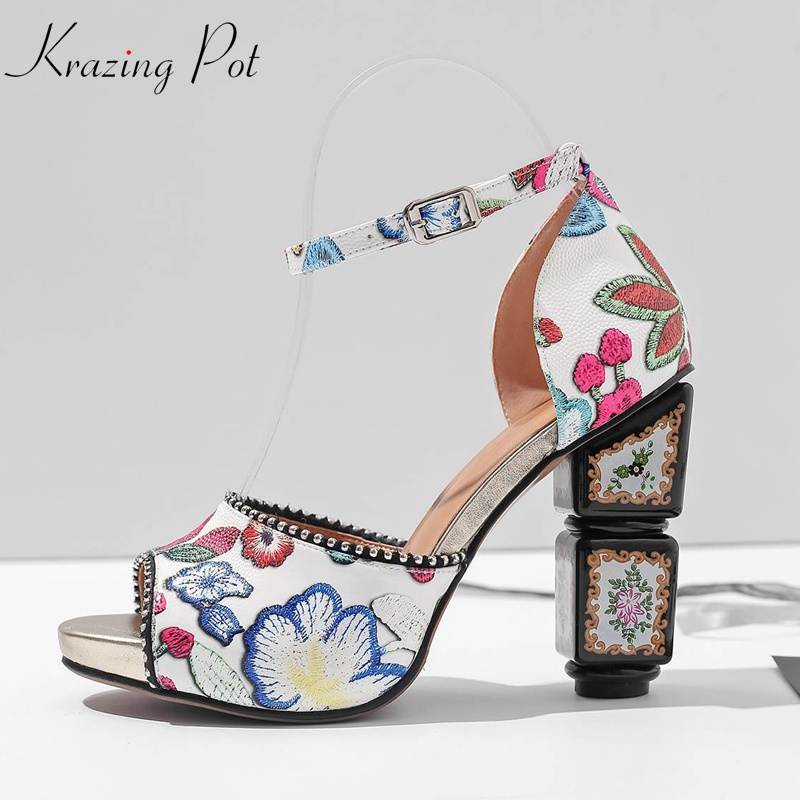 Krazing Pot kid suede Luxury oriental peep toe women sandals patterns leather flowers strange style high heels rivets shoes L33 2018 kid suede brand summer shoes peep toe slingbacks women sandals runway fur strange style med heels casual vacation shoes l30