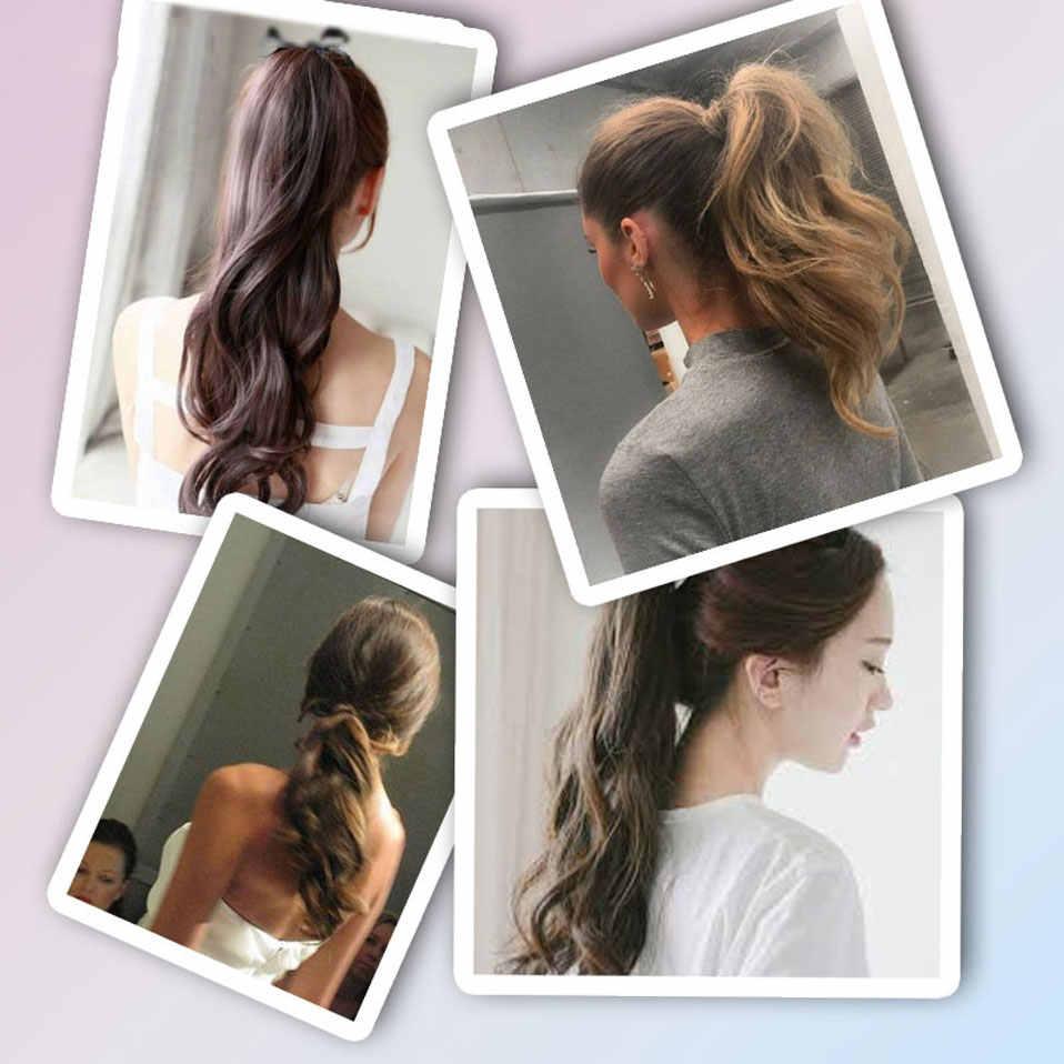 """S-noilite 18 """"длинная волнистая заколка для хвоста в наращивание волос коготь шнурок хвост Синтетический волос кудрявый стиль пони хвост шиньон"""
