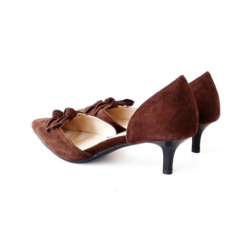 talón De Del Pie Brown beige D'orsay Dedo red Los Vintage Genuino Cuero Zapatos Medio Suede Punta Bombea xwPSH0SBq