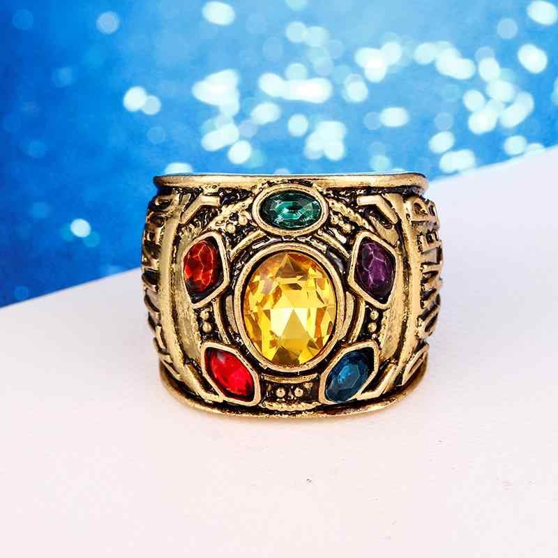 Dropshipping marvel avengers 4 thanos anéis homem de ferro gauntlet bague homme anillos mujer feminino jóias de cristal