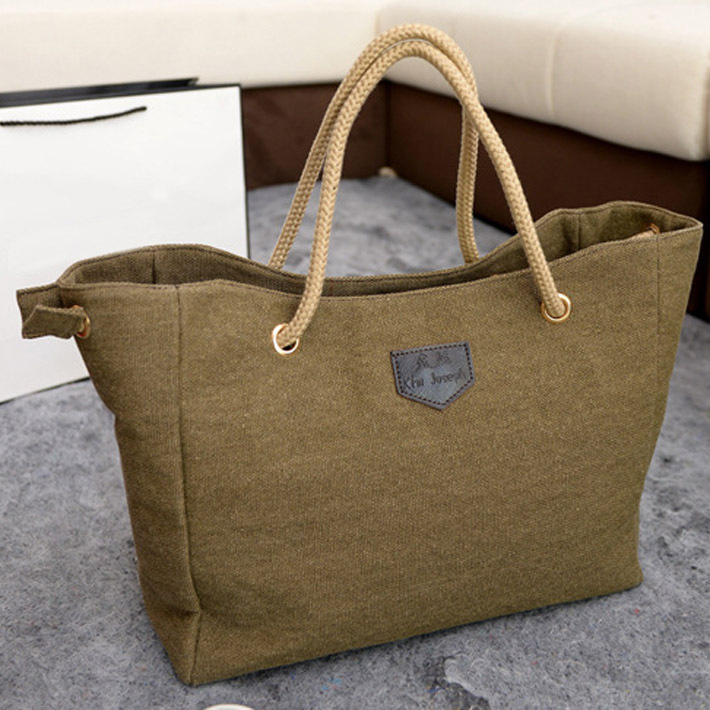 2017 New Canvas Handbag Personality Contracted Large Bag Single Or Double Rope Shoulder For Women In Top Handle Bags From Luggage On