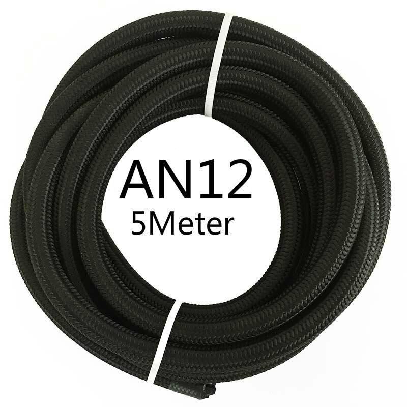 ESPEEDER 5 м AN4 AN6 AN8 AN10 AN12 гоночный шланг Труба Универсальный нейлон-нержавеющая сталь топливная линия Черный Масляный охладитель шланг трубки - Цвет: AN12