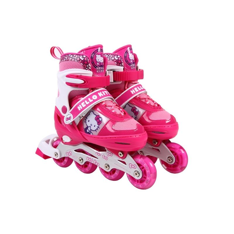 hello kitty Skate Child Adjustable Artistic Roller Skating Shoes Good Quality Skating Skates Athletic Shoes Sport Shoes children roller skating shoes s m l roller skate shoes adjustable road sliding slalom inline skates shoes