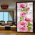 30*56 cm Needlework 5D Diy Diamante Pintura Diamante do Ponto da Cruz Rosa Bordados de Flores Impressão Vertical de rubik Broca cubo