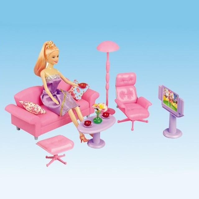 1 6 Miniature Sofa End Table Chair Tv Furniture For Barbie Dollhouse