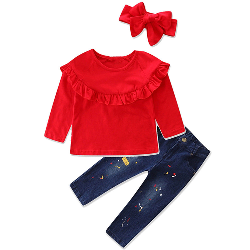 3PCS Children Girl Clothes Set Hot Sale Kids Baby Girl Cotton Ruffle T-shirt Tops+Denim Pants Jeans 2017 New Bebes Girl Clothes