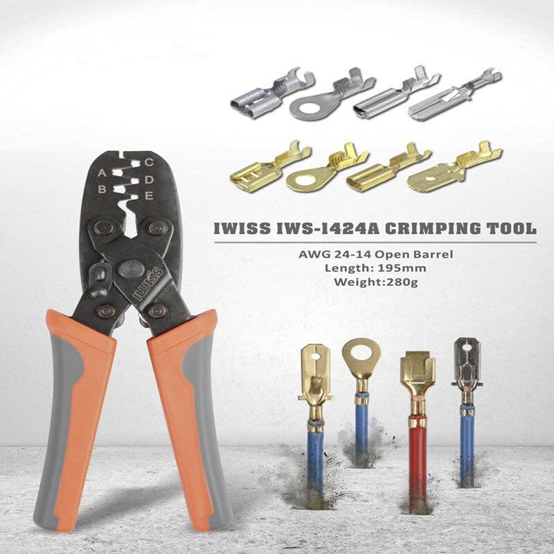 IWISS Open Barrel Terminal Crimper Plier Tool for Molex Style DELPHI AMP TYCO Terminals Crimper Open Barrel 24-14 AWG