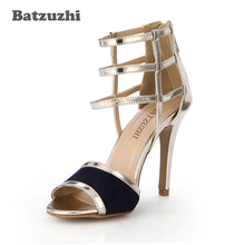 цена Batzuzhi Fashion Personality Women Sandal Shoes 10cm Sexy High Heels Women Zip Straps Open Toe High Heels Sandals Party Dress онлайн в 2017 году