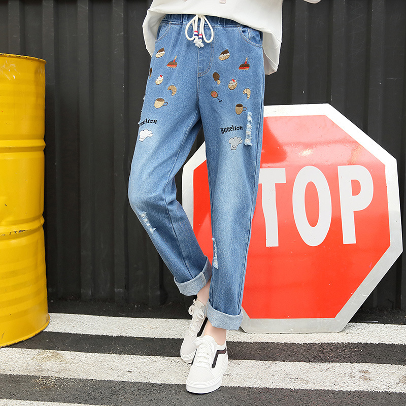 New Autumn Loose Embroidery Washed Distressed Harem Jeans Women Drawstring Waist Girls Solid Cotton Denim Pants Trousers J047