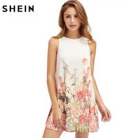 SHEIN Ladies New Arrival Multicolor Sleeveless Flower Print Boho Dresses Womens Summer Round Neck Cut Out