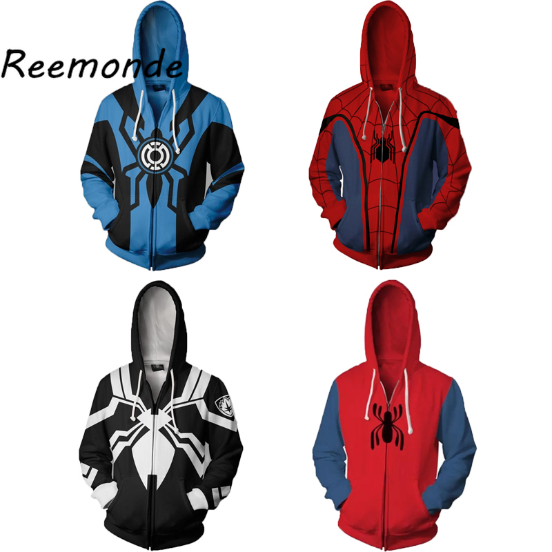 Spiderman Venom 3D Printing Hoodie Sweatshirt Cosplay Coat Jacket Costume White