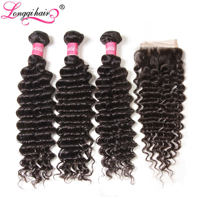 Longqi Brazilian Deep Wave Bundles with Closure Remy Human Hair Bundles with Closure Natural Color 4x4