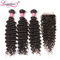 Longqi Brazilian Deep Wave Bundles with Closure Remy Human Hair Bundles with Closure Natural Color 4x4 Lace Closure with Bundles