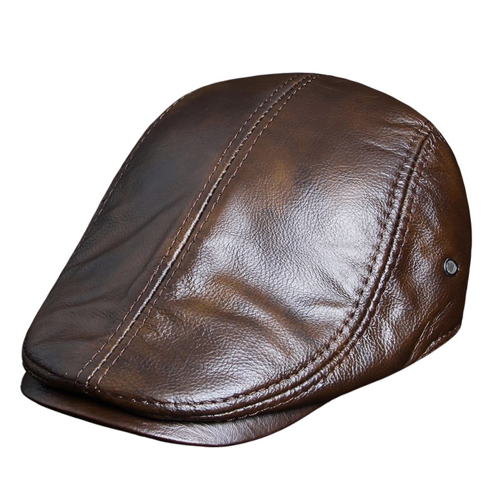 Detail Feedback Questions about 2018 Genuine Leather Windproof Duckbill  Berets Man Cap Cowhide Gorras Black Ear Protection Casquette Hats For Male  Drake ... a4a0cd59978