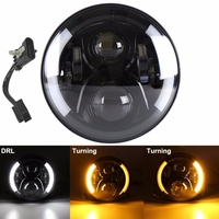 7inch Round 50W Hi/Lo Beam Motorcycle Driving Light with DRL Turn Signal Halo Ring Angle Eyes for Harley Fatboy Indian Chieftain