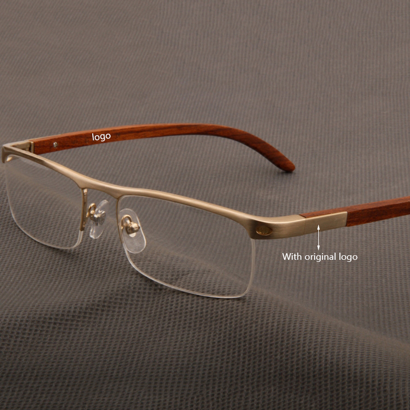 Brand Designer Vintage Half Rim Glasses Frame Men Retro Wooden Clear Lens Glasses Myopia Prescription Eyeglasses Frames Eyewear