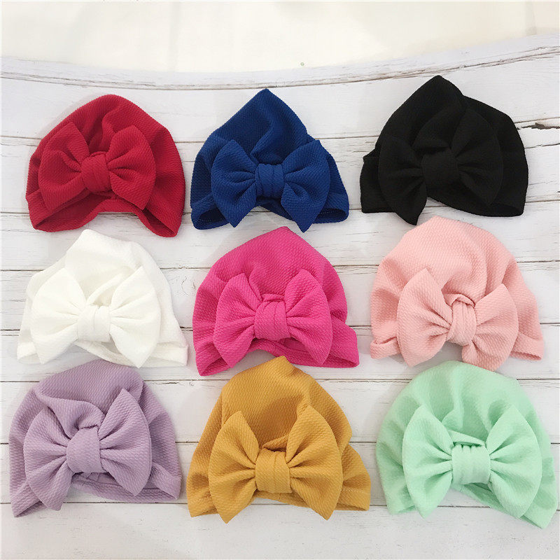 Big Bowknot Baby Headbands Knotted Infant Headwraps Newborn Turban Hats Babes Caps