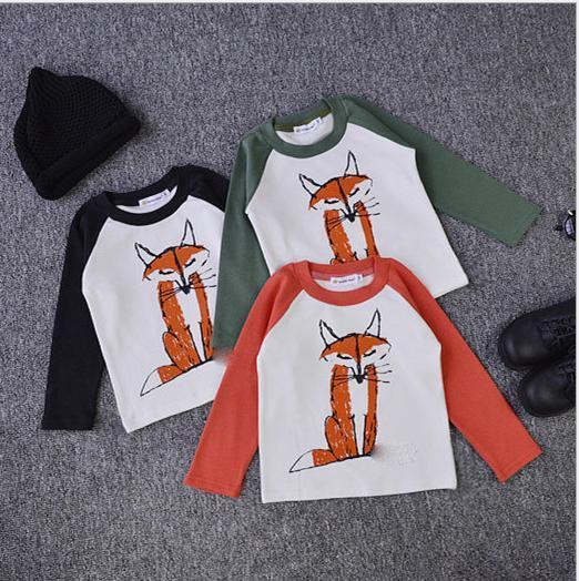 Ins * bobo choses * novos 2015 crianças bebê de algodão raposa impressão luva cheia T-shirt crianças outono roupas top de Malha tecido grosso