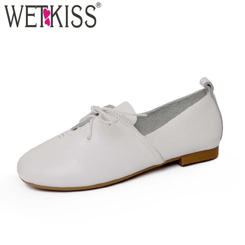 WETKISS Casual Genuine Leather Women Flats 2018 Spring Fashion Girl Shoes Cover Instep Lace Up Flat Outsole Round Toe Footwear high quality full grain genuine leather 5cm platforms flat shoes women 2016 black white lace up round toe fashion casual flats