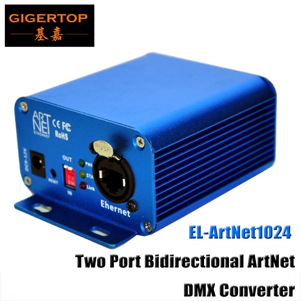Gigertop Bi-directional Ethernet DMX Converter EL ArtNet1024 Controller 3pin/5pin Socket Output Lan Earthnet/DMX Artnet Console
