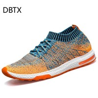 DBTX Brand Men Socks Sneakers Beathable Mesh Male Casual Shoes Lace up Sock Shoes Loafers Boys Super Light Sock Trainers 932
