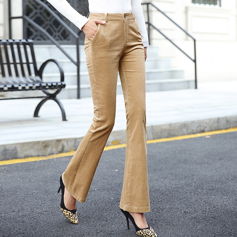 women sexy Corduroy flared   pants   women trousers female 2018 new high waist casual   pants   women autumnwinter velvet   wide     leg     pants