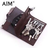 AIM Business Split Leather Key Wallet Women Keychain Covers Zipper Key Case Bag Men Key Holder Housekeeper Keys Organizer A124