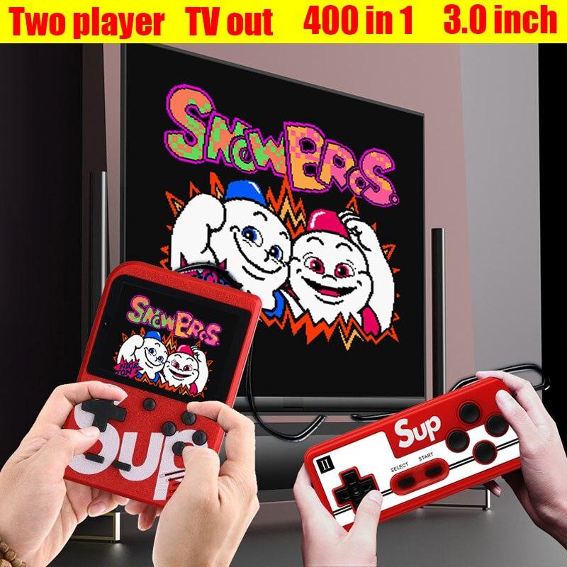 Retro Video Handheld Spielkonsole + Gamepad Unterstützung 2 Spieler Verdoppelt 3,0 Zoll Farbe LCD Spiel Player Eingebaute 400 Spiele TV Out