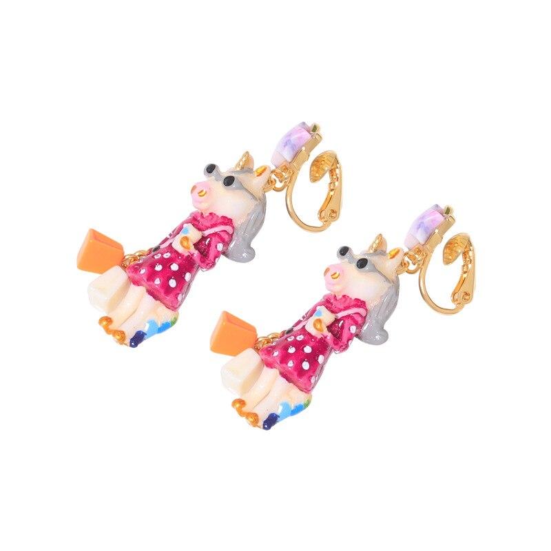 unicorn series enamel glaze ear clip