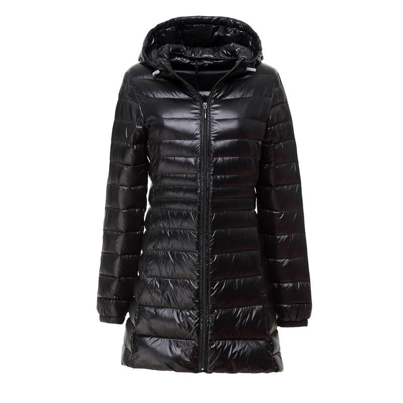 2019 Winter Casual Slim Down Jackets Women Ultra Light White Duck Down Warm Jacket 6XL 7XL Long Parka Ladies Hooded Coat Female