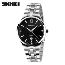 SKMEI Reloj de Cuarzo Para Los Hombres Y Mujeres Amantes de La Moda Informal Silver Mens del Acero Inoxidable Relojes de Pulsera Relojes Relogio masculino