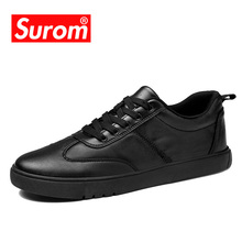 SUROM 2018 Spring Autumn New Men Leather Casual Shoe Classic Black White Daily Leisure Sneakers Lace up Flat Heel Shoes for Men