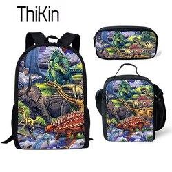 THIKIN Dino plecak do szkoły dzieci w wieku 3 sztuk/zestaw torby szkolne dla dzieci Tyrannosaurus Rex dinozaur drukowanie tornister uczeń tornister