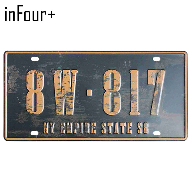 [inFour+] 8W-817 License Plate Metal Plate Car Number Tin Sign Bar Pub Cafe Home Decor Metal Sign Garage Painting Plaques Signs